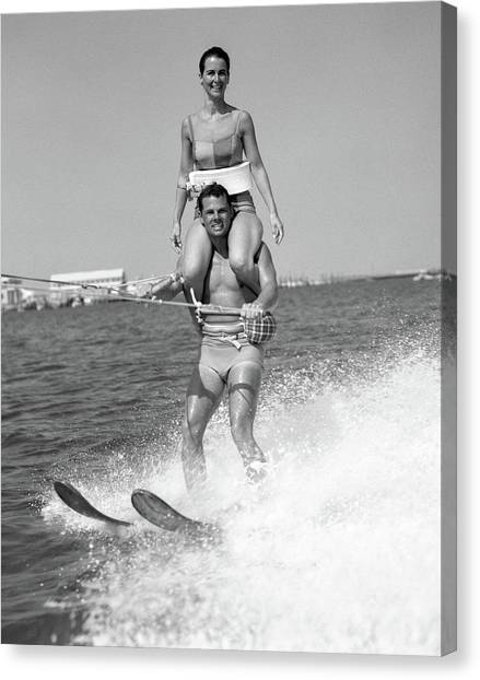 Water Skis Canvas Print - 1960s Man Water Skiing With Woman by Vintage Images
