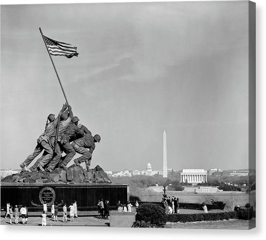 Capitol Building Canvas Print - 1960s Marine Corps Monument by Vintage Images