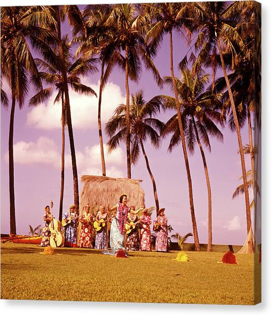 Ukuleles Canvas Print - 1960s Native Hawaiian Women Performing by Vintage Images