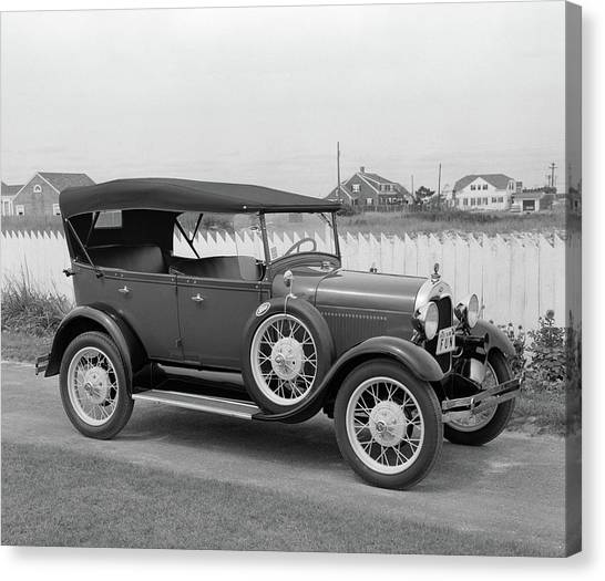 Motoring Canvas Print - 1960s Side View Of 1929 Model A Ford by Vintage Images