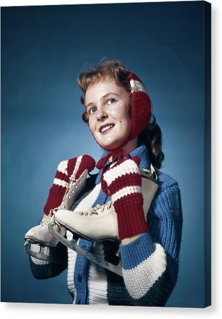 Beauty Mark Canvas Print - 1960s Smiling Woman Wearing Red Mittens by Vintage Images