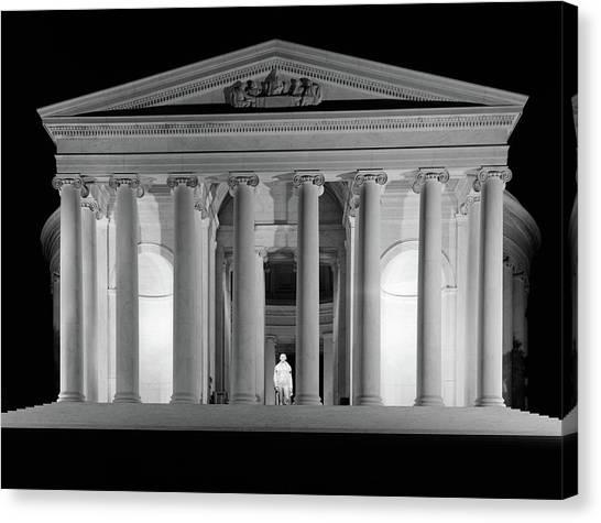 Jefferson Memorial Canvas Print - 1960s Thomas Jefferson Memorial Lit by Vintage Images