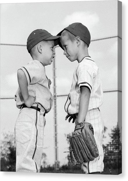 Different Opinions Canvas Print - 1960s Two Boys Playing Baseball Arguing by Vintage Images
