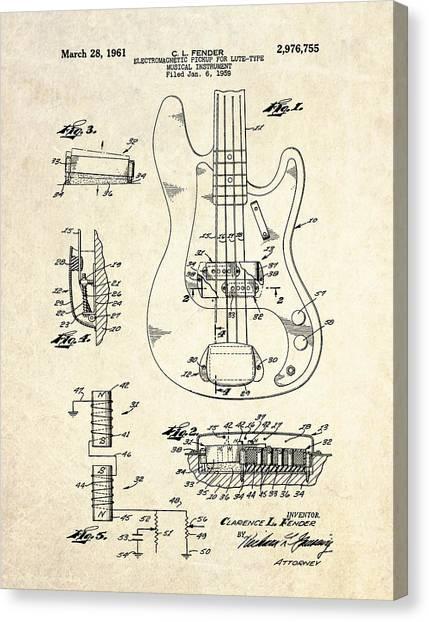Bass Guitars Canvas Print - 1961 Fender Bass Pickup Patent Art by Gary Bodnar