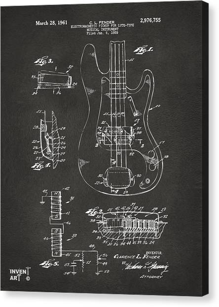 Black And White Canvas Print - 1961 Fender Guitar Patent Artwork - Gray by Nikki Marie Smith