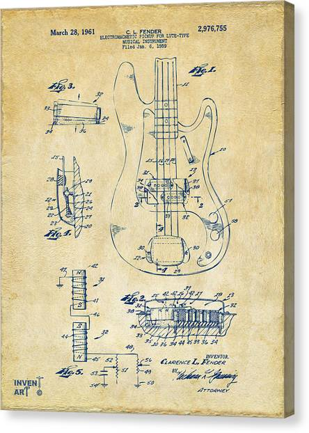 Canvas Print featuring the digital art 1961 Fender Guitar Patent Artwork - Vintage by Nikki Marie Smith