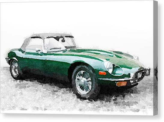 Type Canvas Print - 1961 Jaguar E-type Watercolor by Naxart Studio
