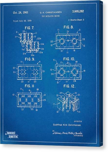Bricks Canvas Print - 1961 Lego Brick Patent Artwork - Blueprint by Nikki Marie Smith