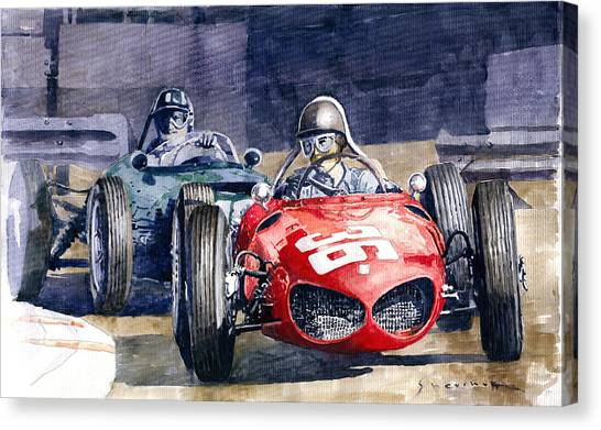 Papers Canvas Print - 1961 Monaco Gp #36 Ferrari 156 Ginther  #18 Brm Climax P48 G Hill by Yuriy Shevchuk