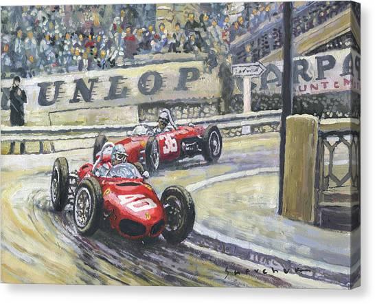 Papers Canvas Print - 1961 Monaco Gp Ferrari 156 #40 Trips #36 Ginther by Yuriy Shevchuk