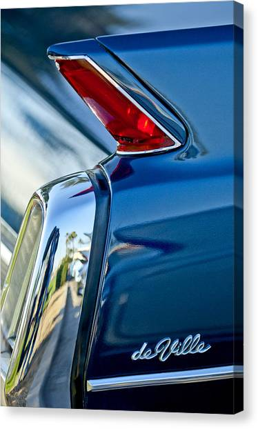 Canvas Print featuring the photograph 1962 Cadillac Deville Taillight by Jill Reger
