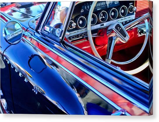 Dodge - Plymouth - Chrysler Automobiles Canvas Print - 1962 Dodge Polara 500 Steering Wheel by Jill Reger