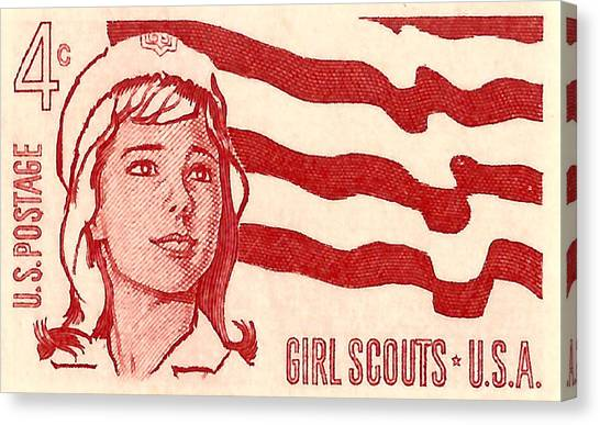 Girl Scouts Canvas Print - 1962 Girl Scouts Of America Postage Stamp by David Patterson