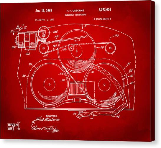 Jukebox Canvas Print - 1963 Automatic Phonograph Jukebox Patent Artwork Red by Nikki Marie Smith