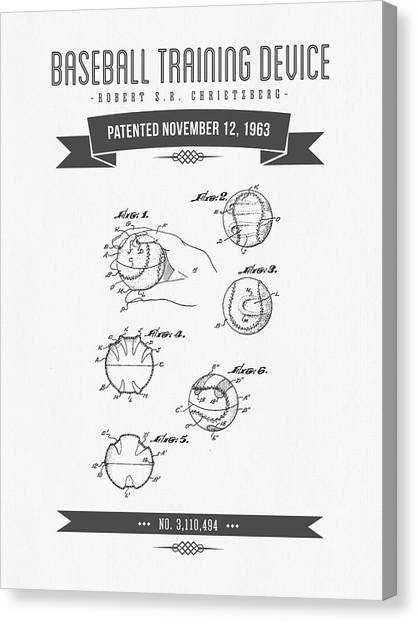 Softball Canvas Print - 1963 Baseball Training Device Patent Drawing by Aged Pixel