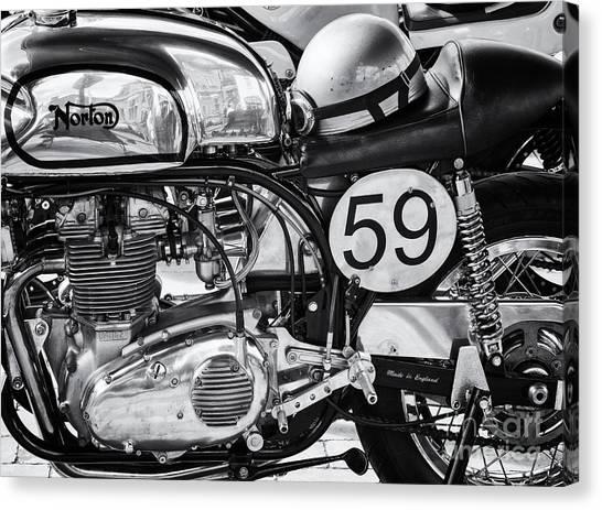 1963 Manx Norton Monochrome Canvas Print by Tim Gainey