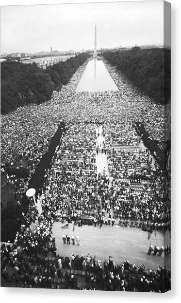 Lincoln Memorial Canvas Print - 1963 March On Washington by Warren Leffler