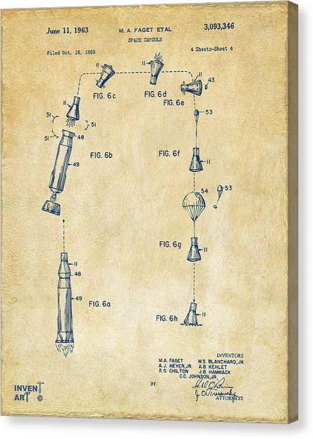 Space Shuttle Canvas Print - 1963 Space Capsule Patent Vintage by Nikki Marie Smith