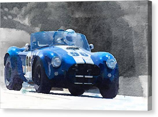 Cobras Canvas Print - 1964 Ac Cobra Shelby Racing Watercolor by Naxart Studio