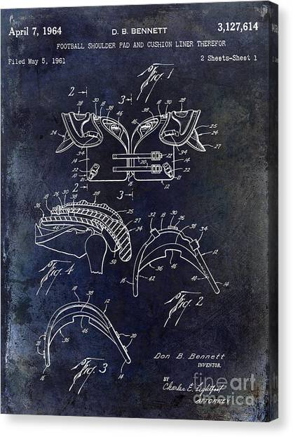 Shoulders Canvas Print - 1964 Football Shoulder Pads Patent Blue by Jon Neidert