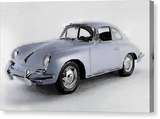 Classic Cars Canvas Print - 1964 Porsche 356b Watercolor by Naxart Studio