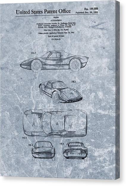 Classic Car Drawings Canvas Print - 1964 Porsche Patent Blue by Dan Sproul