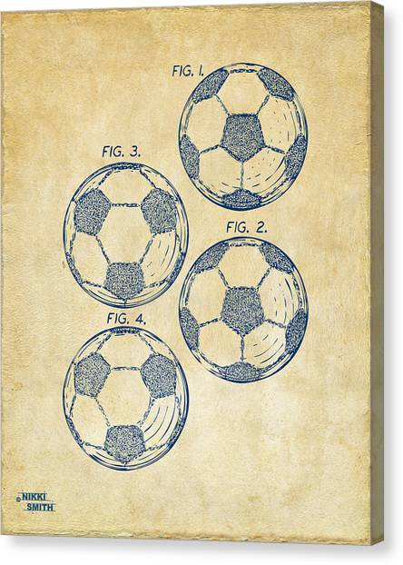Media Canvas Print - 1964 Soccerball Patent Artwork - Vintage by Nikki Marie Smith
