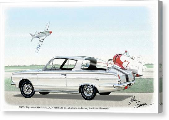 Roadrunner Canvas Print - 1965 Barracuda  Classic Plymouth Muscle Car by John Samsen