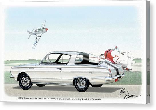 Roadrunner Canvas Print - 1965 Barracuda  Classic Plymouth Muscle Car by John Samsen