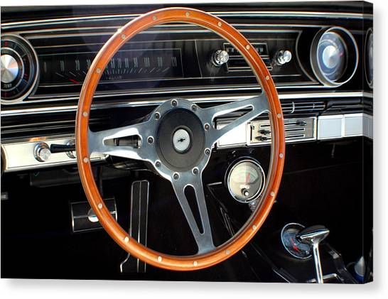 1965 Chevrolet Impala Ss Steering Wheel Canvas Print by DJ Monteleone