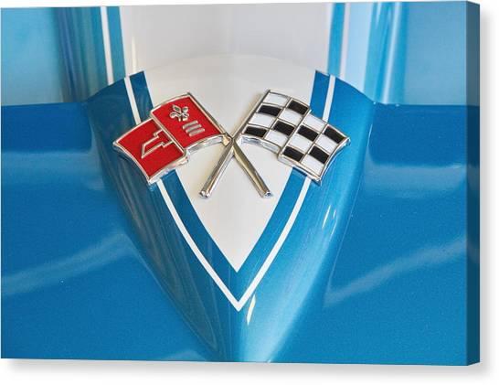 1965 Corvette Flags Emblem Canvas Print