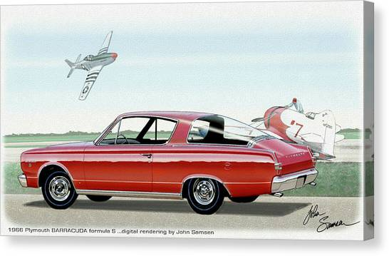 Roadrunner Canvas Print - 1966 Barracuda  Classic Plymouth Muscle Car Sketch Rendering by John Samsen