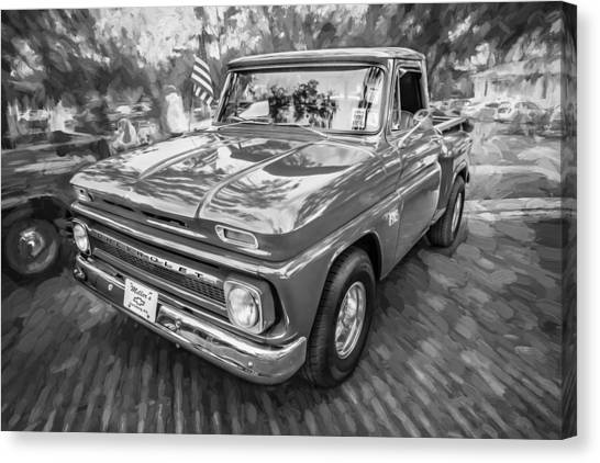 1966 Chevy C10 Pick Up Truck Painted Bw Canvas Print