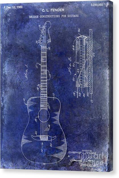 Acoustic Guitars Canvas Print - 1966 Fender Acoustic Guitar Patent Drawing Blue by Jon Neidert