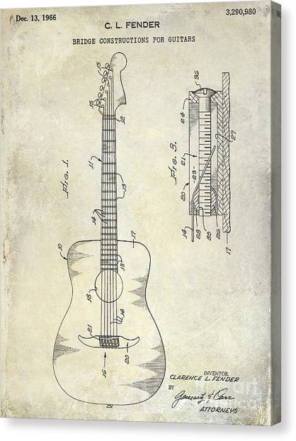 Acoustic Guitars Canvas Print - 1966 Fender Acoustic Guitar Patent by Jon Neidert