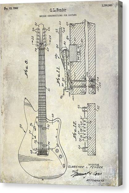 Stratocasters Canvas Print - 1966 Fender Guitar Patent Drawing  by Jon Neidert