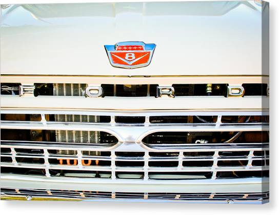 Ford Automobiles Canvas Print - 1966 Ford F100 Pickup Truck Grille Emblem by Jill Reger