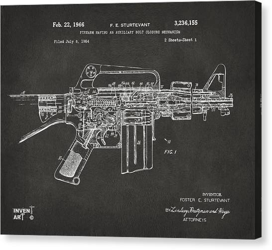 Weapons Canvas Print - 1966 M-16 Gun Patent Gray by Nikki Marie Smith