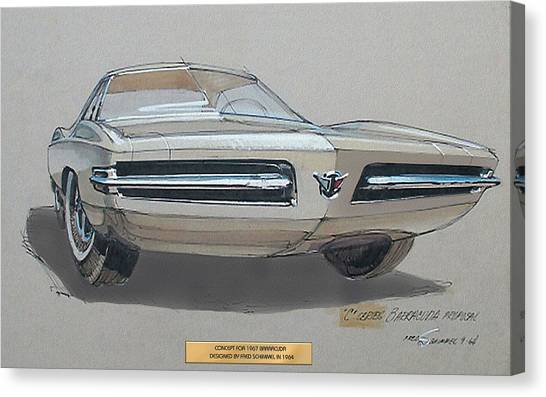1967 Barracuda  Plymouth Vintage Styling Design Concept Rendering Sketch Fred Schimmel Canvas Print by ArtFindsUSA