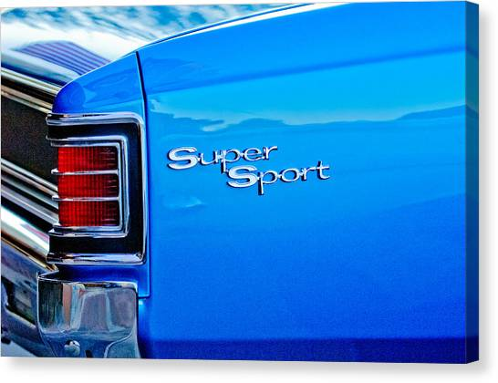 Chevelle Canvas Print - 1967 Chevrolet Chevelle Taillight Emblem by Jill Reger