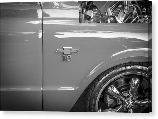 1967 Chevy Silverado Pick Up Truck  Bw Canvas Print