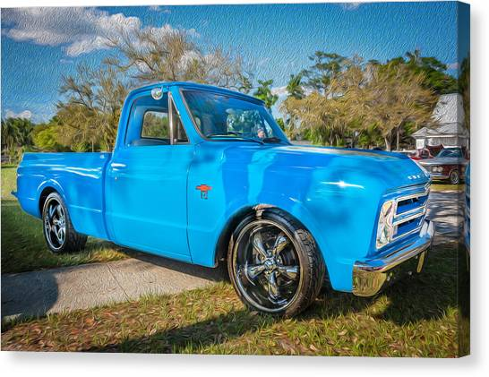 Chevy C10 Canvas Print - 1967 Chevy Silverado Pick Up Truck Painted by Rich Franco