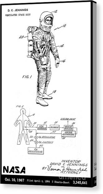 Vintage Canvas Print - 1967 Nasa Astronaut Ventilated Space Suit Patent Art 3 by Nishanth Gopinathan