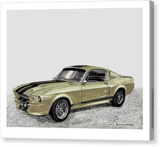 Classic Car Drawings Canvas Print - Go Baby Gone by Jack Pumphrey