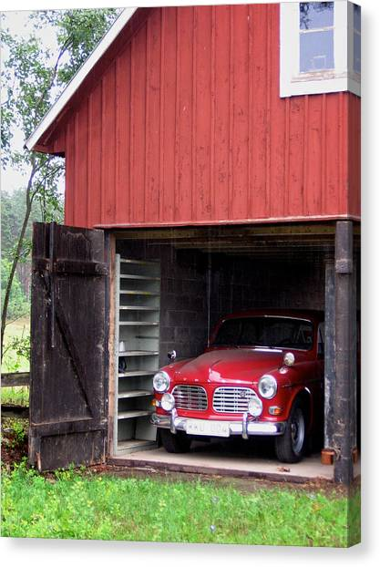 1967 Volvo In Red Sweden Barn Canvas Print