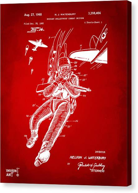 Navy Seal Canvas Print - 1968 Bulletproof Patent Artwork Figure 14 Red by Nikki Marie Smith
