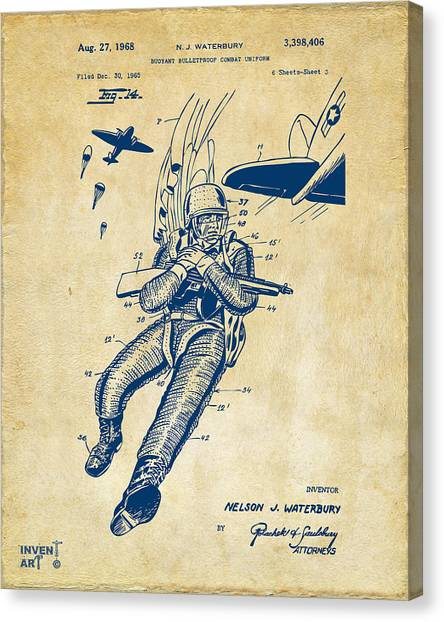 Navy Seal Canvas Print - 1968 Bulletproof Patent Artwork Figure 14 Vintage by Nikki Marie Smith