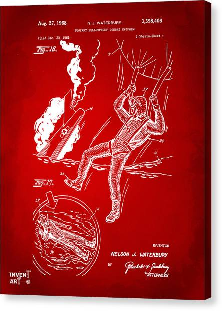 Navy Seal Canvas Print - 1968 Bulletproof Patent Artwork Figure 16 Red by Nikki Marie Smith