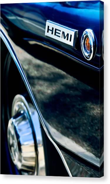 Dodge Canvas Print - 1968 Dodge Charger Rt Coupe 426 Hemi Upgrade Emblem by Jill Reger