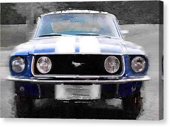 Ford Canvas Print - 1968 Ford Mustang Front End Watercolor by Naxart Studio